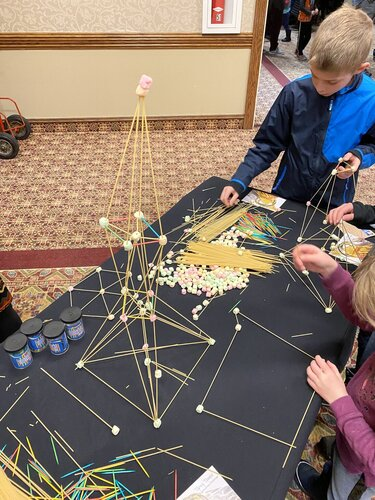 spaghetti tower building at STEAM Makerfest 2020