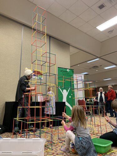 kids tower building at STEAM Makerfest